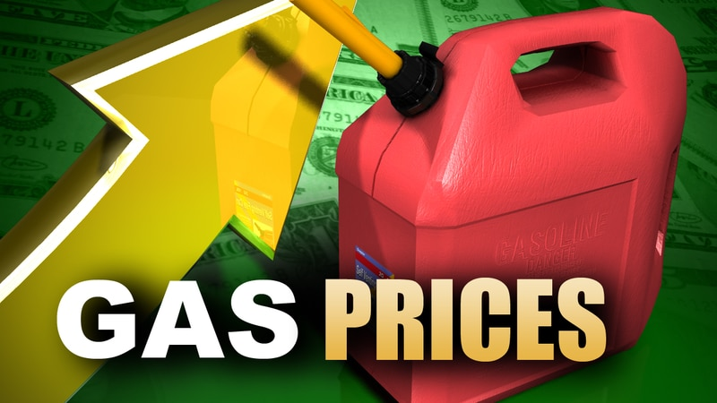 Gas prices increase graphic.