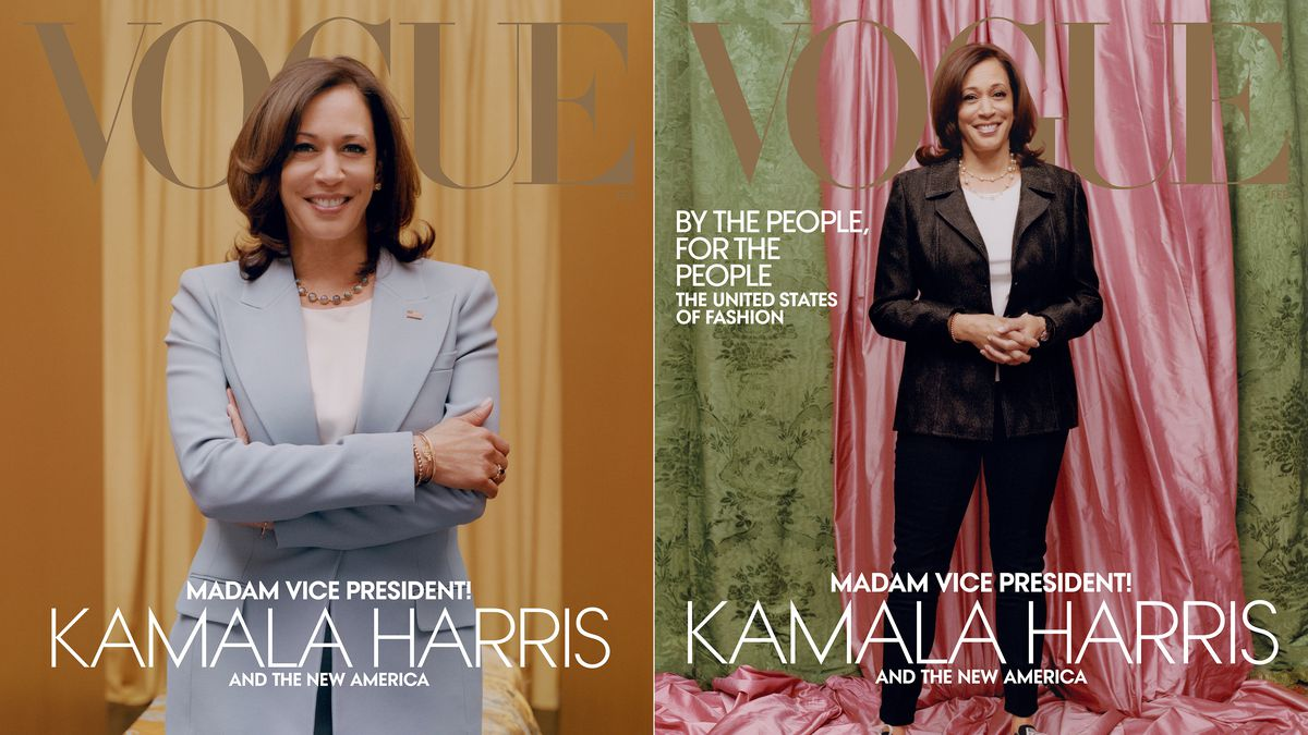 This combination of photos released by Vogue shows images of Vice President-elect Kamala Harris...