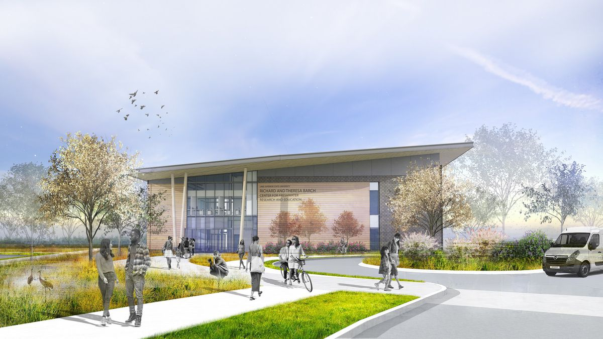 A rendering of the forthcoming Richard and Theresa Barch Center for Freshwater Research and...