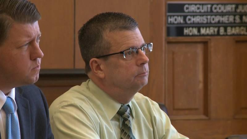 Court photo of former Menominee County Sergeant Brian Helfert in February 2020. (WLUC Photo)
