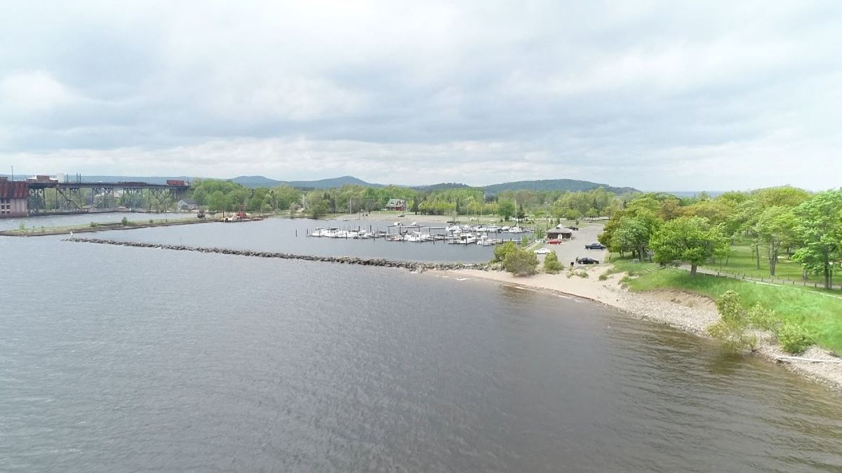 Presque Isle Marina and Boat Launch as seen from SkyTracker 6 in the summer of 2019. (WLUC Photo)