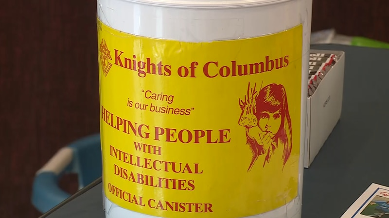 A donation can for the Knights of Columbus