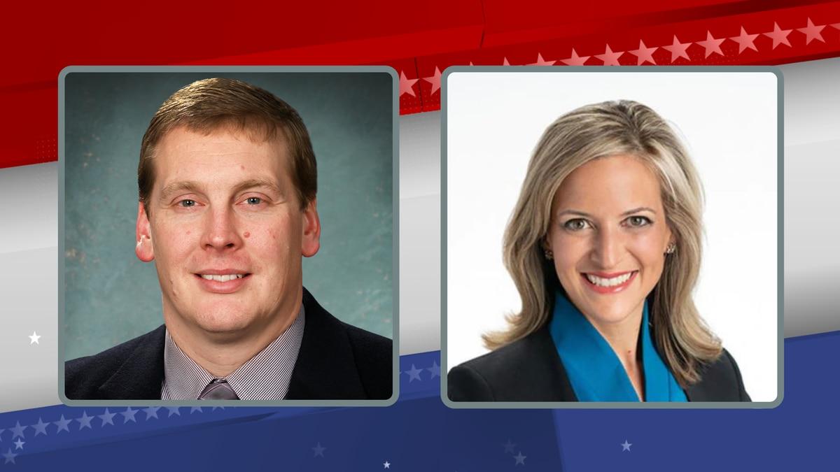 State Senator Ed McBroom (R-Waucedah Township), left, and Secretary of State Jocelyn Benson...
