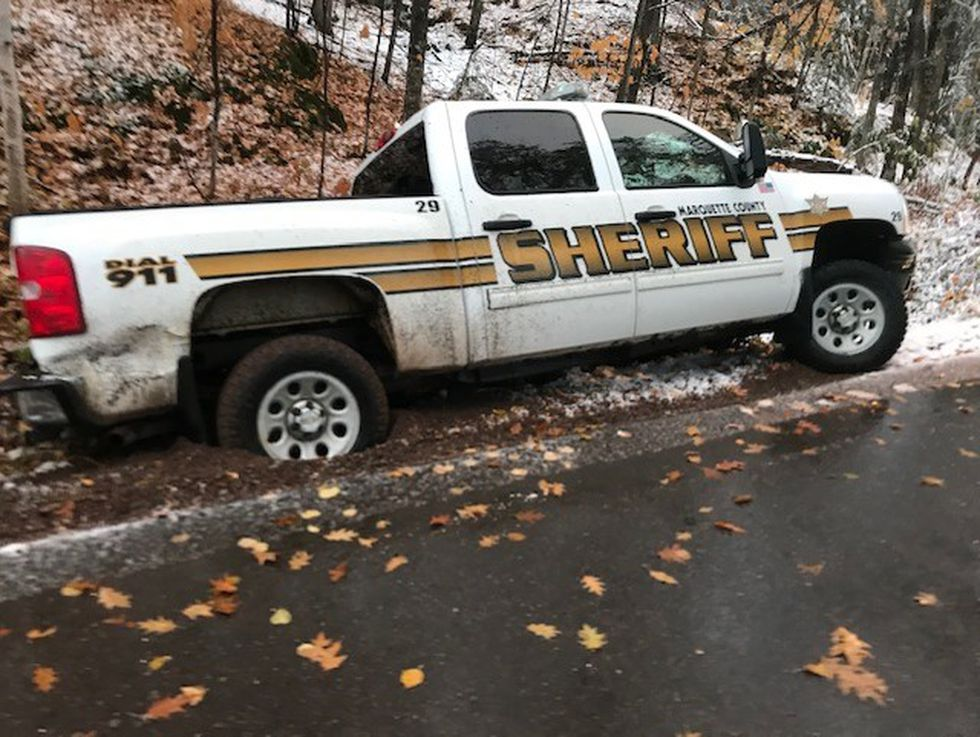 Image of Marquette County Sheriff Greg Zyburt's truck after it was stolen and crashed into a...