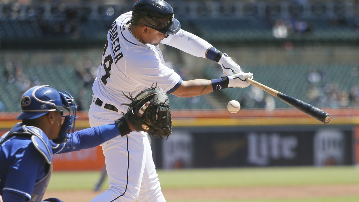 Detroit Tigers' Miguel Cabrera (24) swings for a strike with catcher Kansas City Royals'...