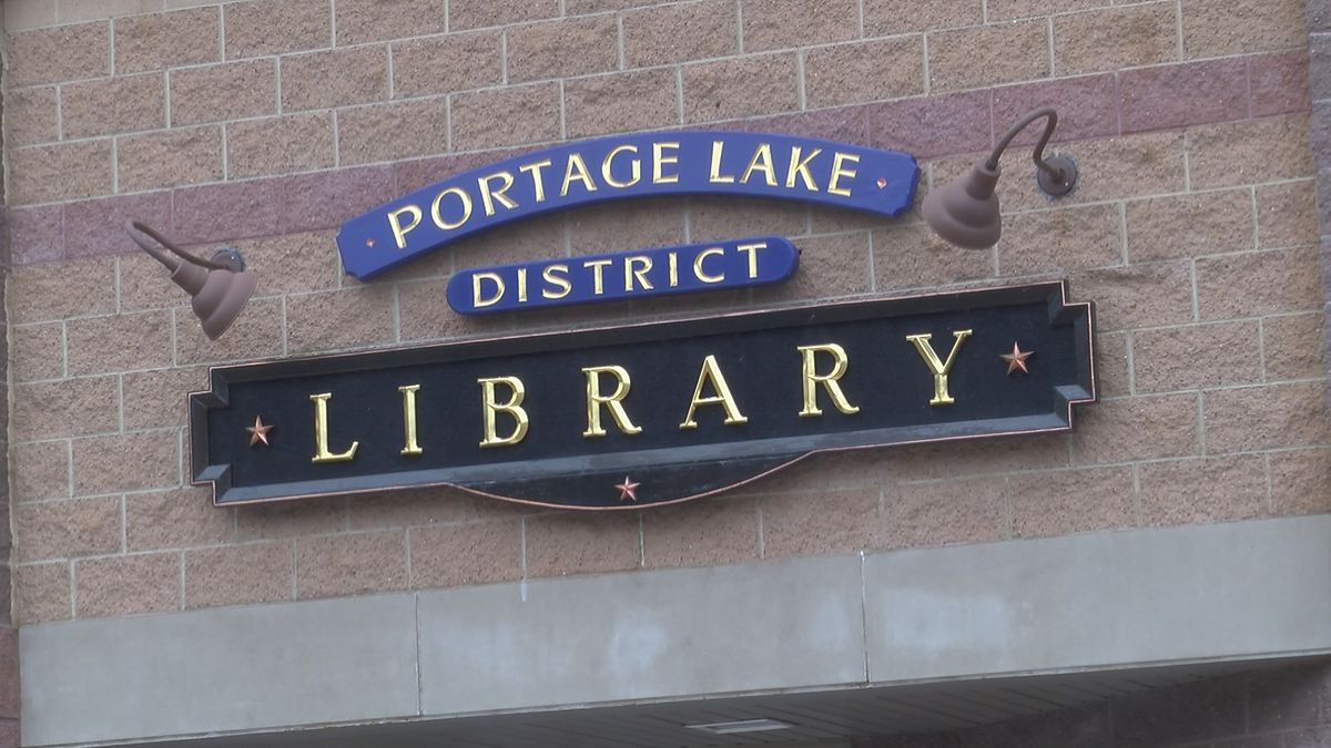 Portage Lake District Library sign.