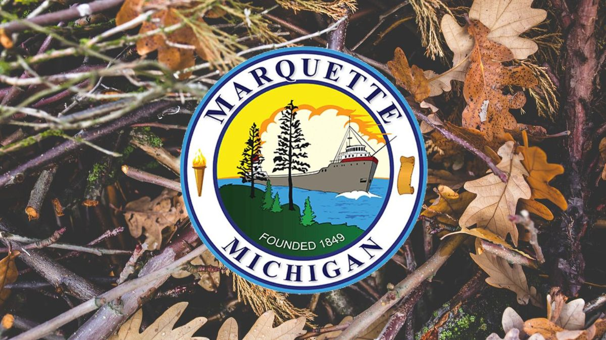 (City of Marquette seal with Pexels image, WLUC created in Canva)