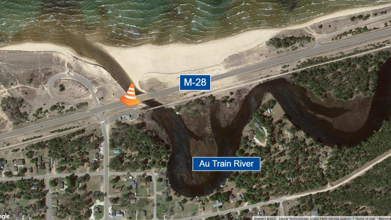 The Michigan Department of Transportation is making repairs to the M-28 bridge over the Au...