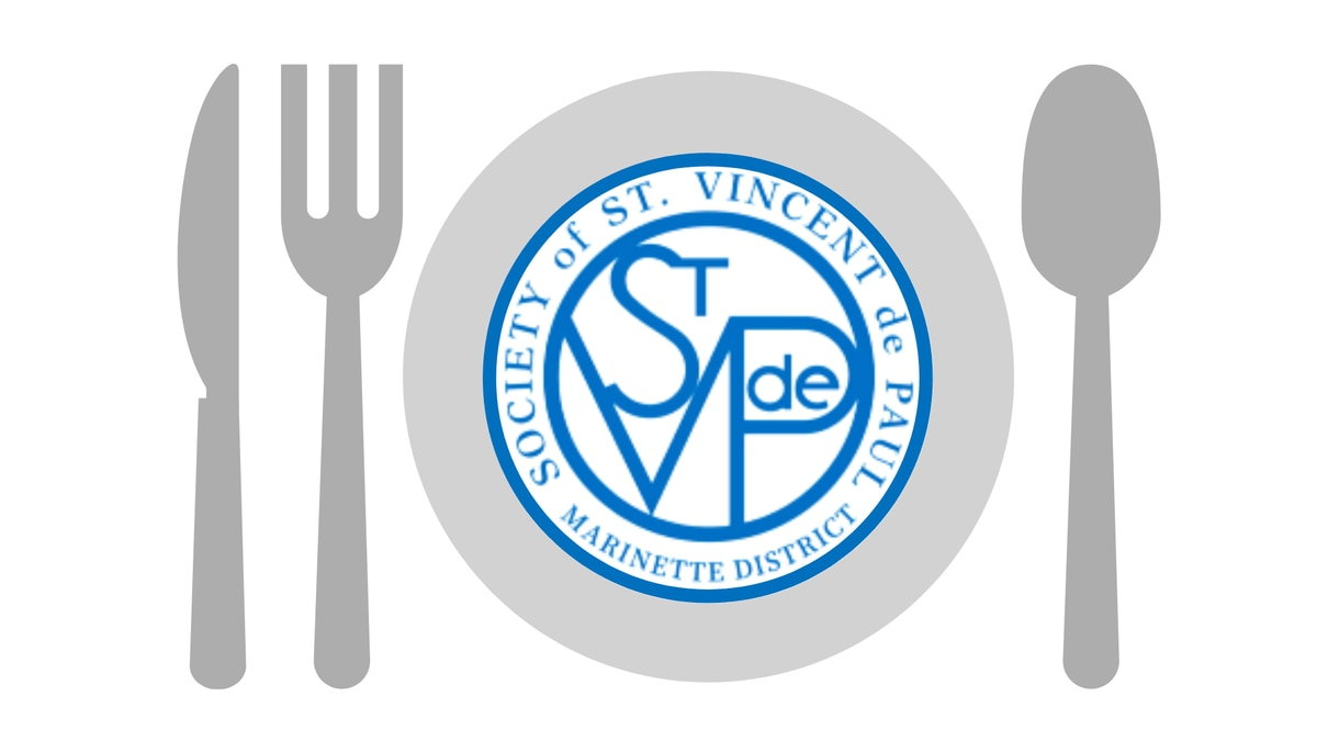 St. Vincent de Paul Society Marinette District logo on a dinner plate graphic.