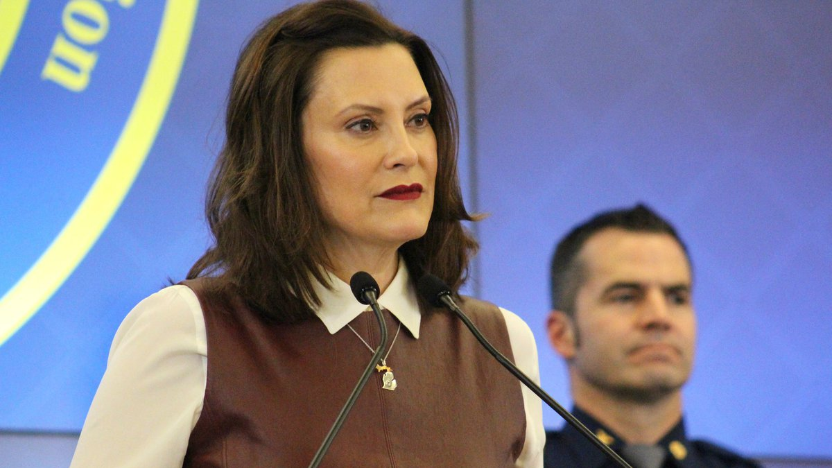 Governor Gretchen Whitmer gives an update on COVID-19 from the State Emergency Operations...