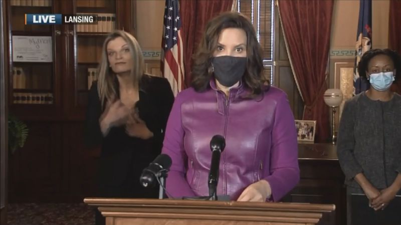 Gov. Gretchen Whitmer during an afternoon press conference on Wednesday, Jan. 6, 2021.