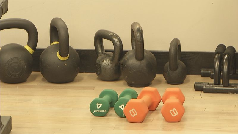 dumb bells and kettle bells at TM Fitness