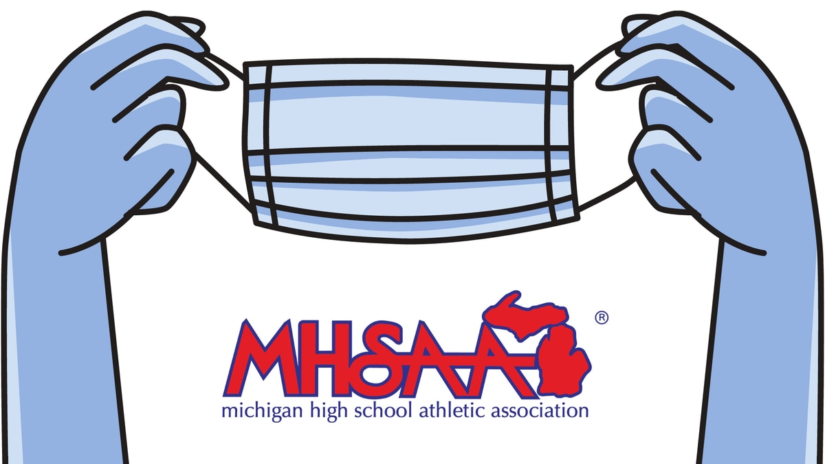 A graphic including a face mask and the Michigan High School Athletics Association logo.