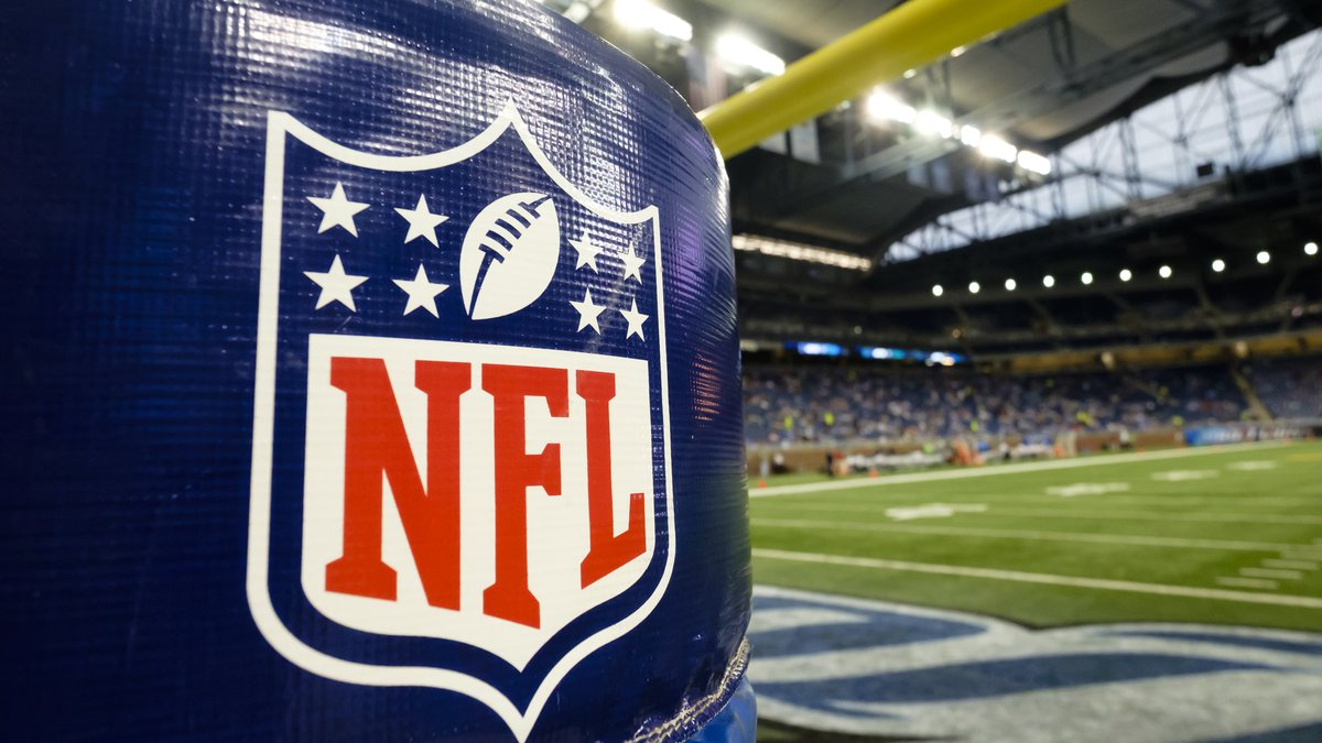 NFL Logo is seen on the goal post padding before an NFL preseason football game between the...
