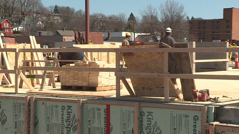 Construction workers continue work on the Mariucci Family Beacon House