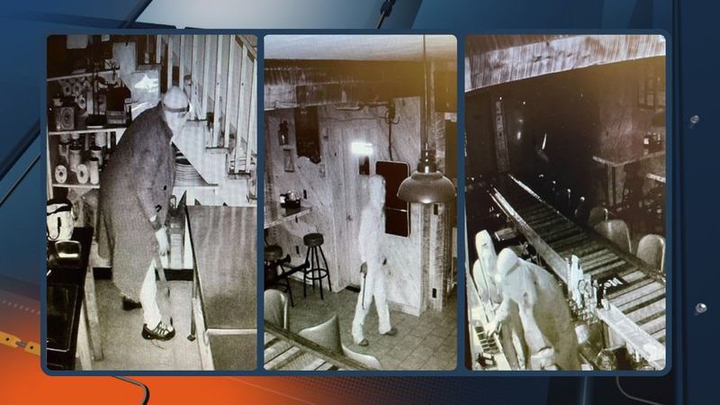 Security camera images from the Nimrod in break-in in Althestane, Wis., on Oct. 1, 2021.