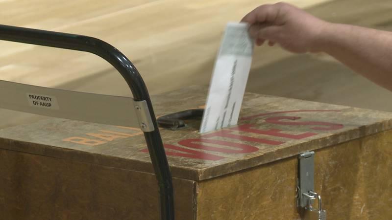 A union member casts their ballot.