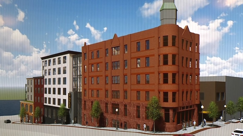 A mock-up of plans to renovate the old Savings Bank Building in Downtown Marquette