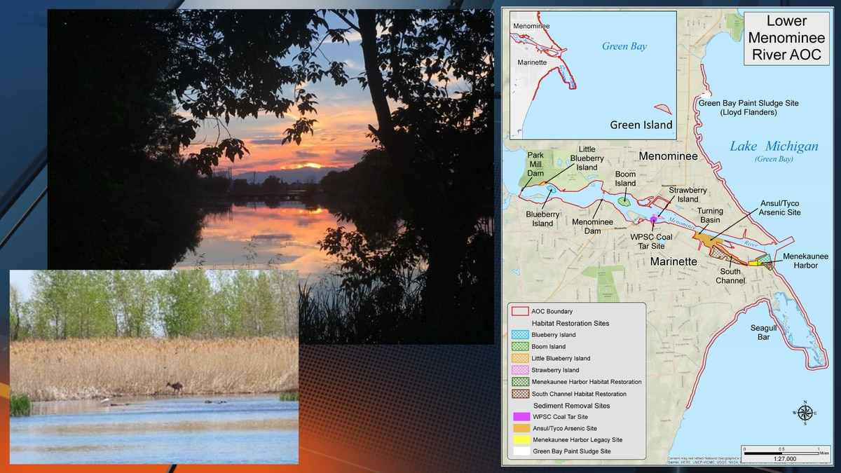 Map, right, of the Menominee River Area of Concern (now delisted) along with images on the area...
