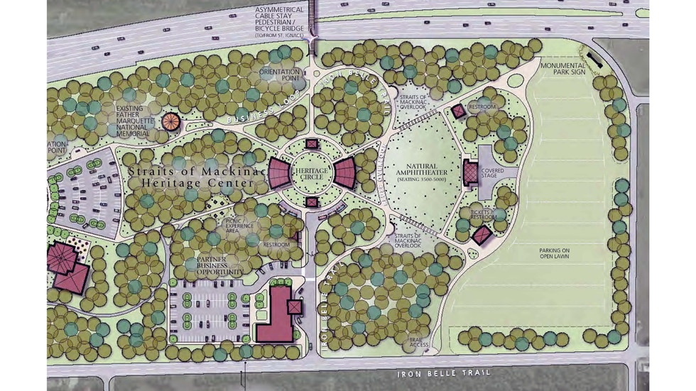 An early rendering of the new heritage plan for Straits State Park, which is intended to inspire reflection, learning and healthy lifestyles built around the Anishinaabe and French heritage of the region.