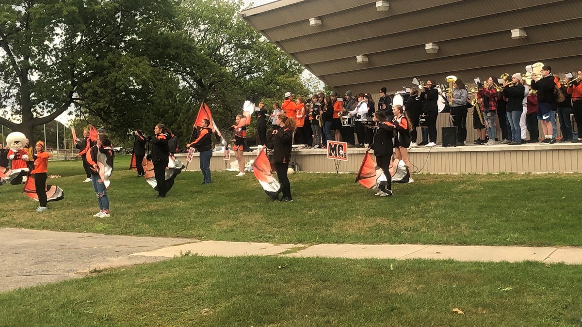 Escanaba High School marching band and color guard.