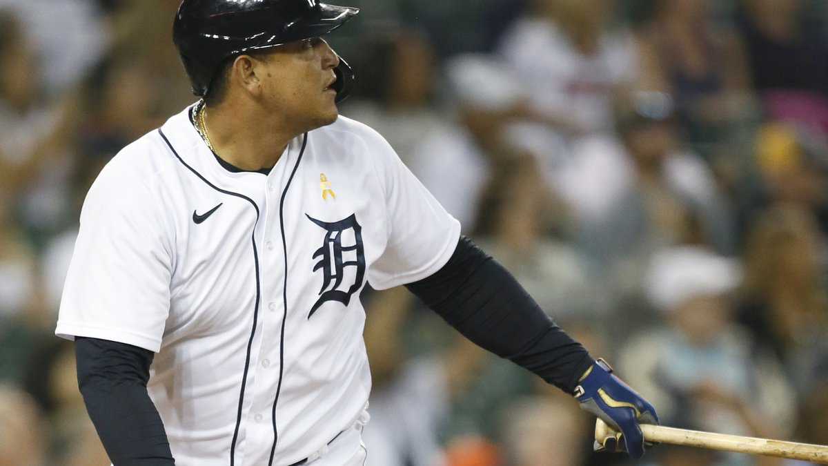 Detroit Tigers' Miguel Cabrera watches his two-run home run against the Oakland Athletics...