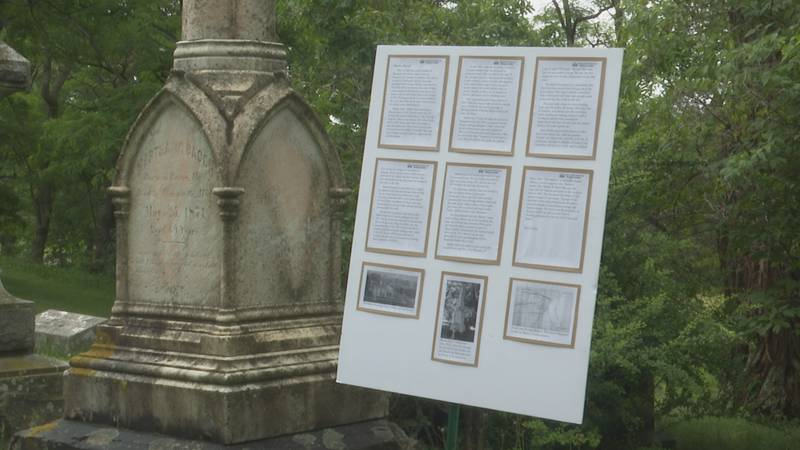 Posters were stationed at each grave site of early founders of Marquette.