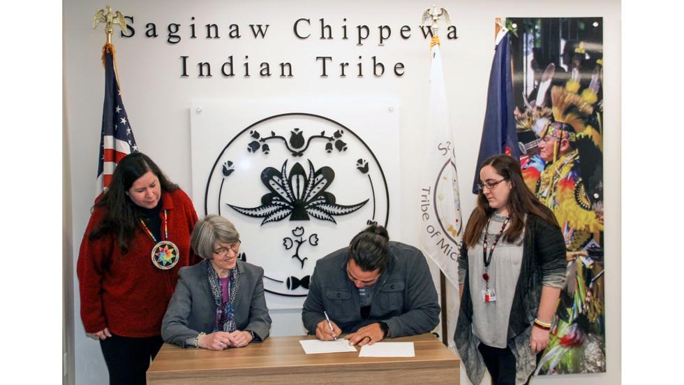 On Dec. 2, 2019, Saginaw Chippewa Tribal Chief Ronald F. Ekdahl was joined by Sandra Clark,...