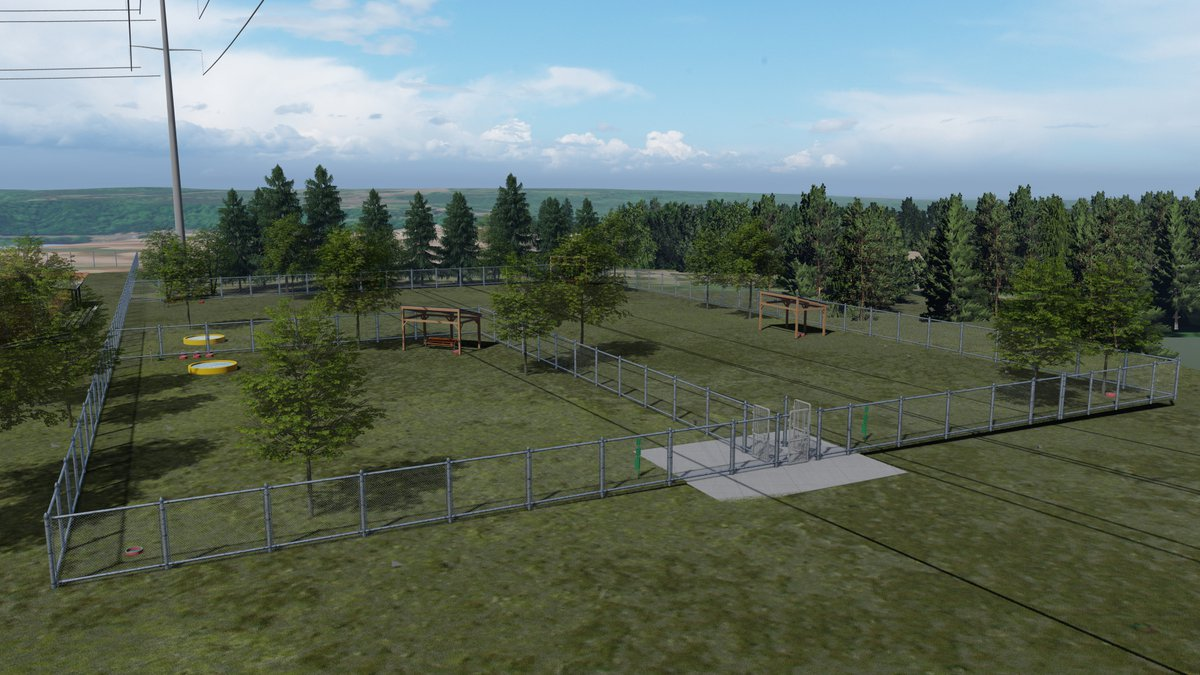 A rendered image of what the dog park would look like by the Maasto Hiito trails in Hancock....