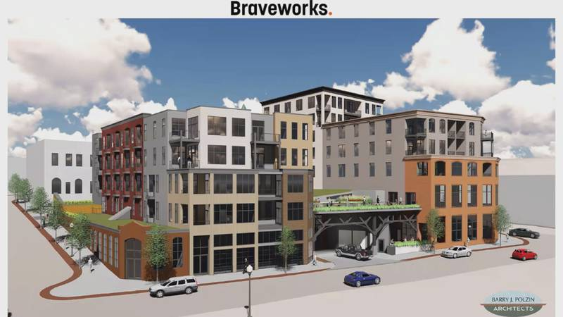 A rendering of the project from behind the Savings Bank building, including the residential...