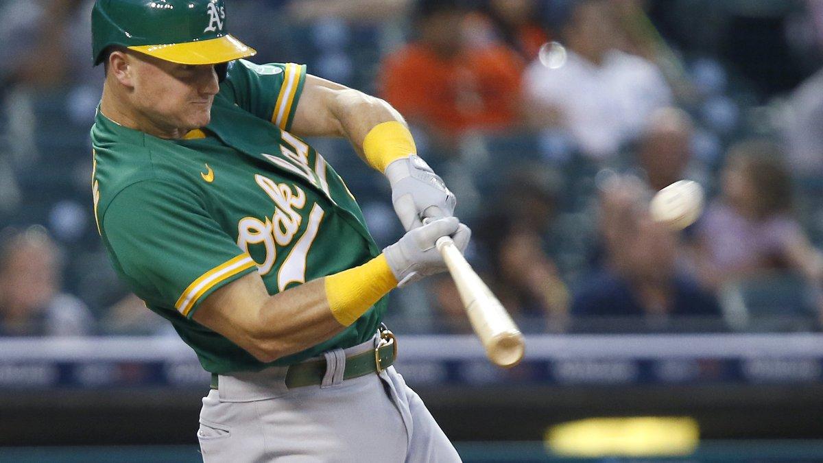 Oakland Athletics' Matt Chapman hits a two-run home run against the Detroit Tigers during the...