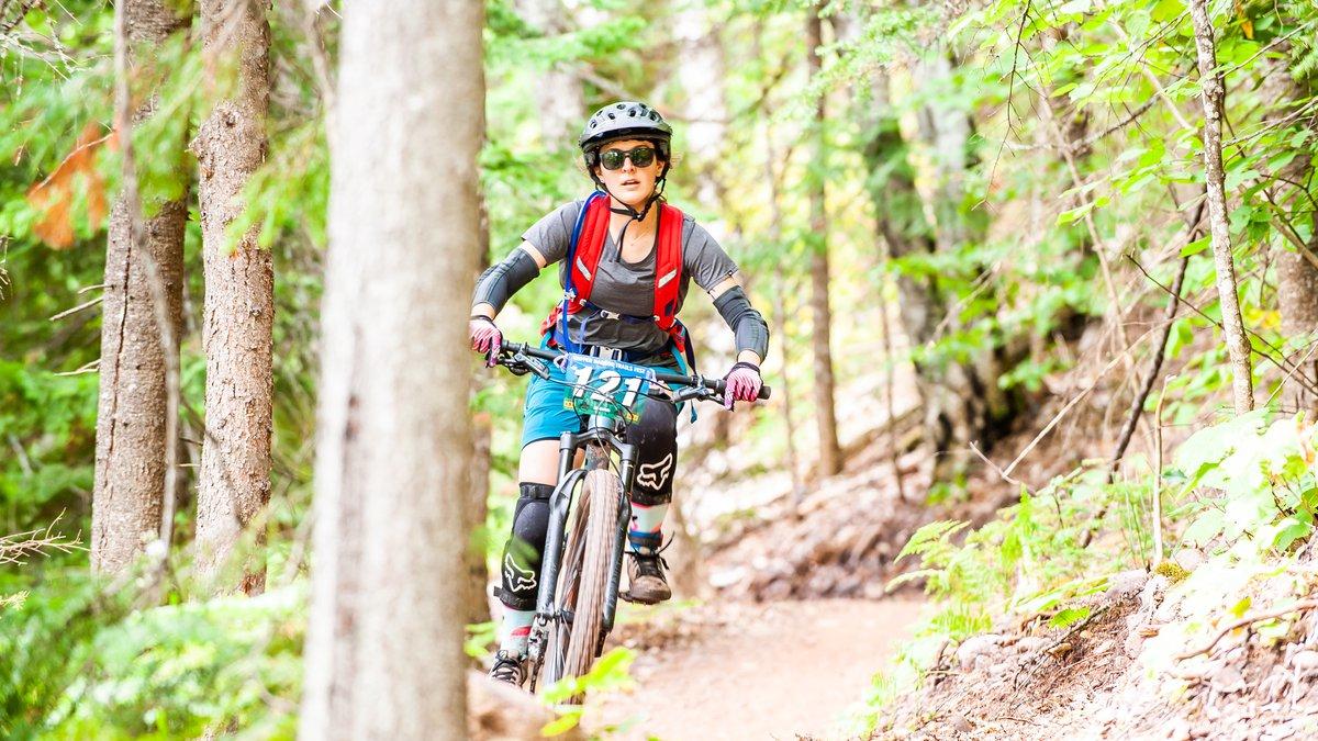 Mountain biking on the Copper Harbor Trails.