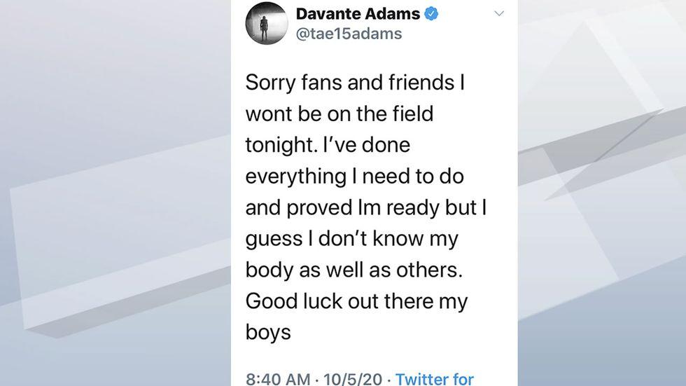 Davante Adams's original tweet announcing he won't be in the game Monday, Oct. 5, 2020