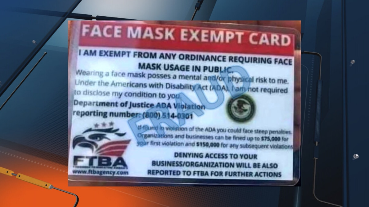 Example of the fake Face Mask Exempt cards.