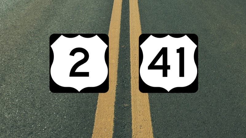 US-2 and US-41 highway graphic.