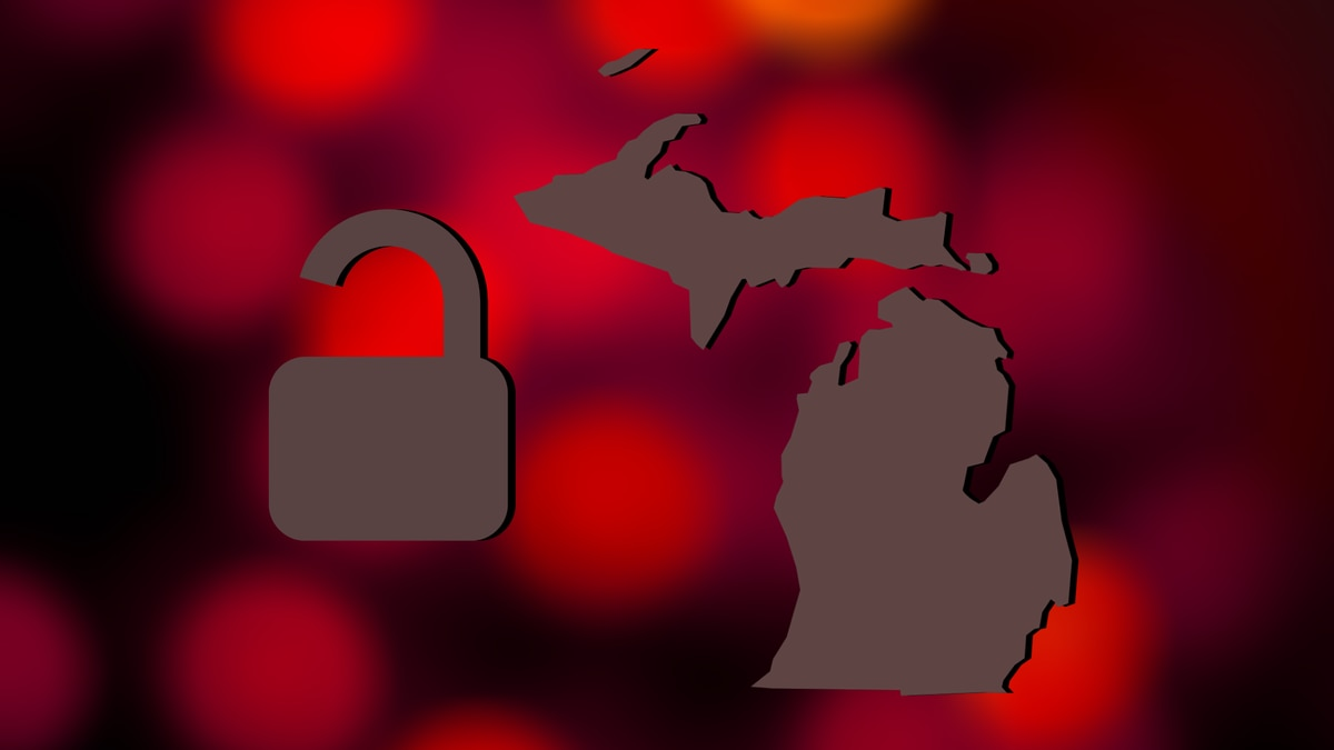 An open lock and Michigan map graphic.