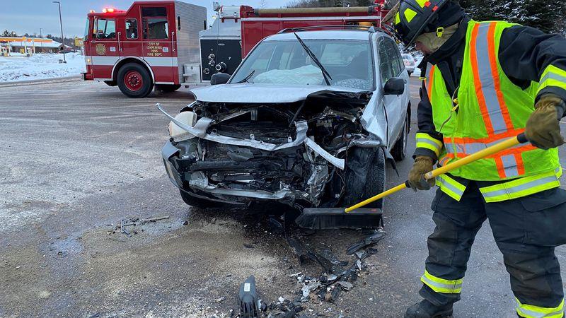 A car damaged after a crash on US-41 in Ishpeming, Jan. 20, 2021