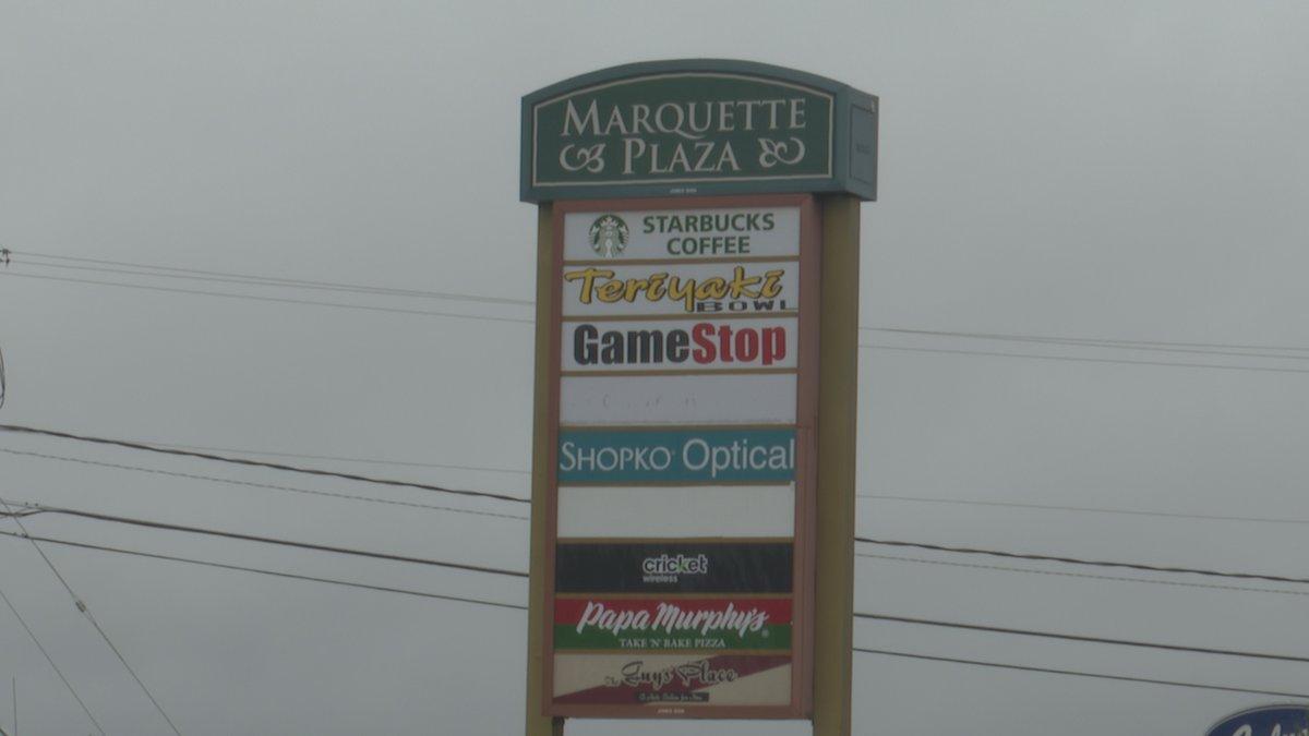 Marquette Plaza sign