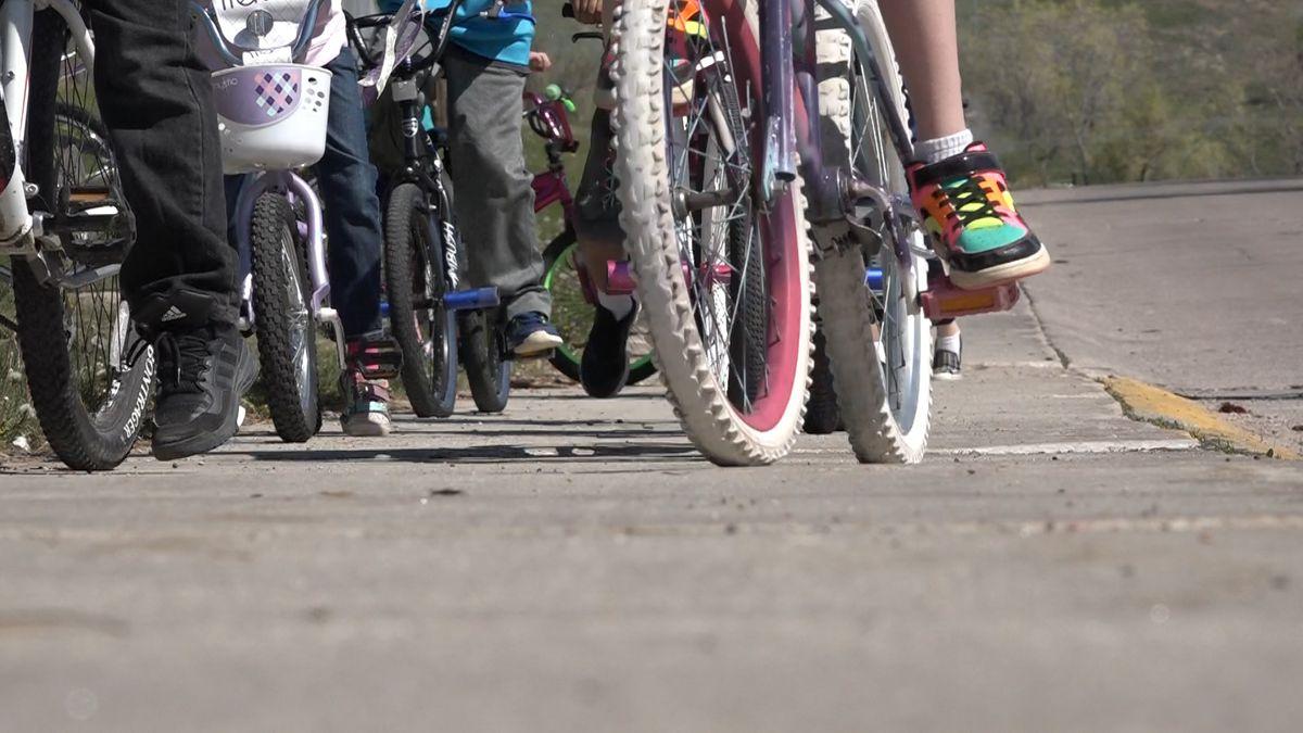FILE. Children biking to school.