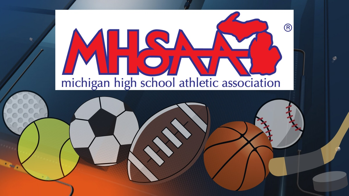 MHSAA logo and sports background for WLUC-TV6 & FOX UP.