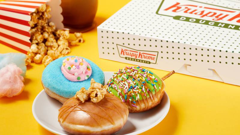 The summer collection features three, all-new doughnuts: caramel apple; cotton candy; and...