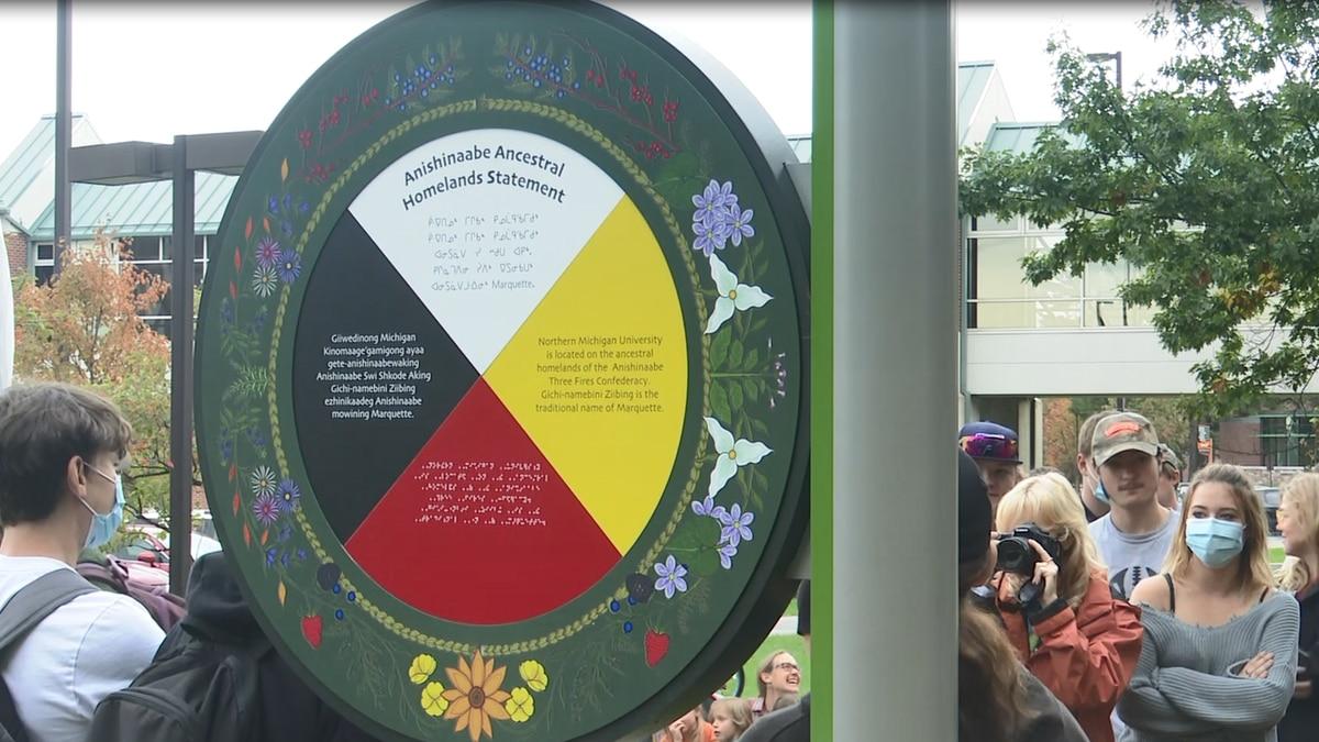 Indigenous Land Acknowledgement Sign at Northern Michigan University