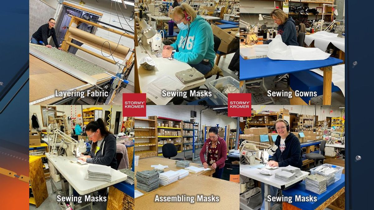 Stormy Kromer employees work to make masks and gowns for hospitals during the coronavirus pandemic, March 2020. (Stormy Kromer photos)
