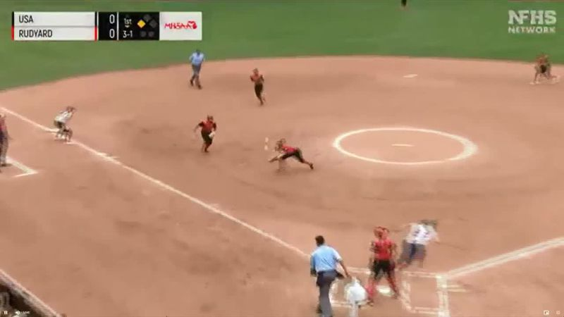 Rudyard Pitcher Morgan Bickel makes a diving catch in the first inning of the Division four...