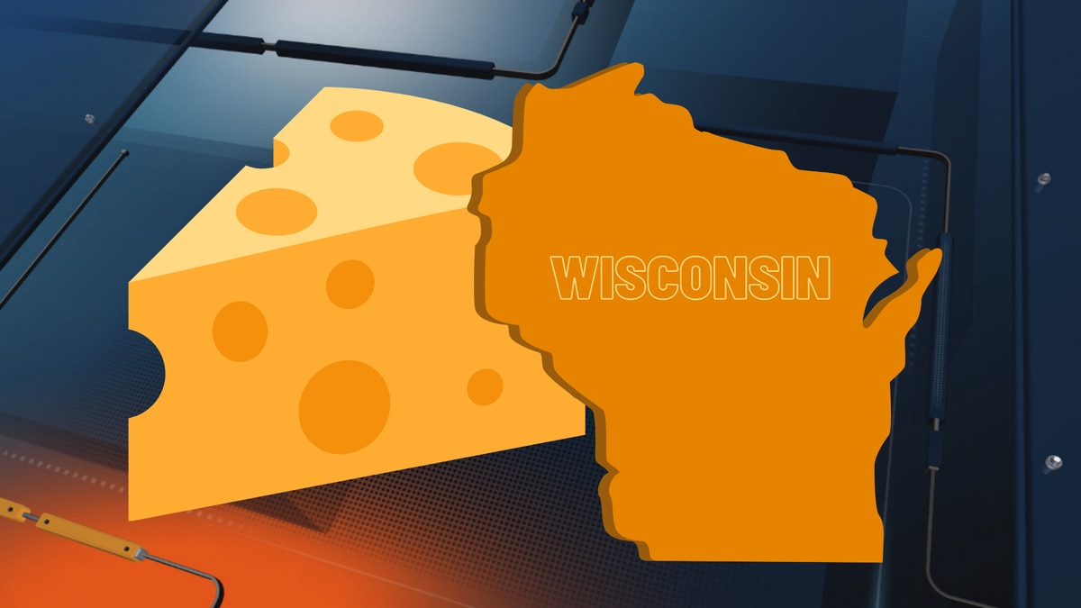 Wisconsin and a colby cheese wedge.