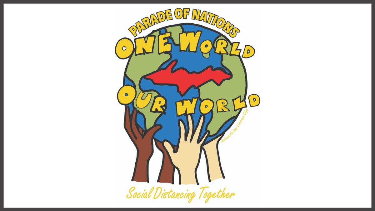 "This year's Parade of Nations theme is ""One World, Our World.""  A logo designed by Linnea Oja of Hancock won a competition to represent the theme, pictured."