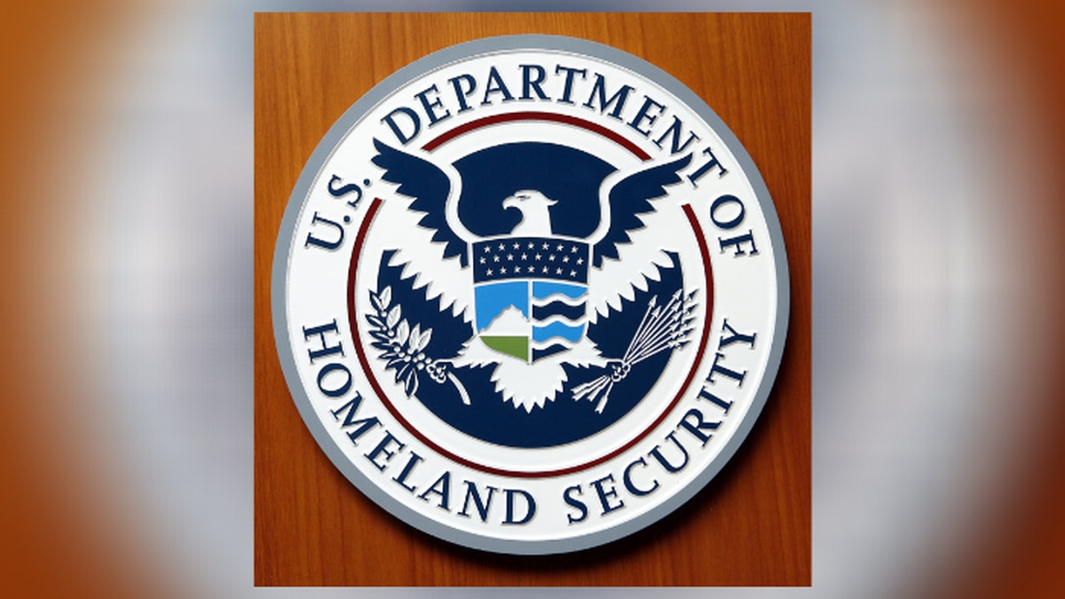 Logo of the Department of Homeland Security of the United States of America pictured at the embassy of the USA in Berlin, Germany, Friday, Aug. 10, 2007.