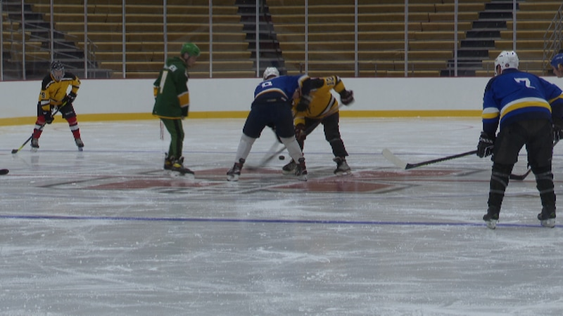 A game being played at the Lakeview Arena on Saturday.