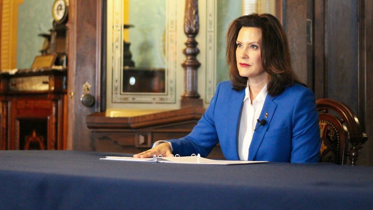 "Gov. Gretchen Whitmer signs ""Stay Home, Stay Safe"" Executive Order on March 23, 2020 (Courtesy Gov. Whitmer's Office)"