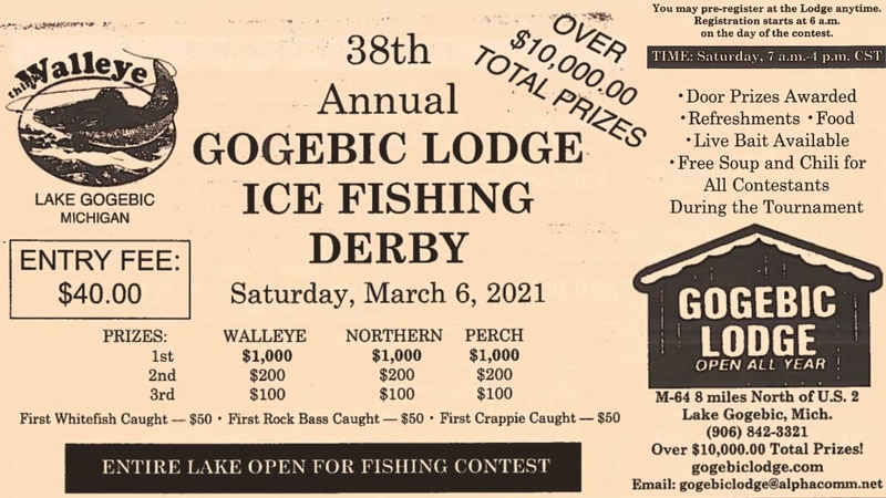 Images from the Gogebic Lodge flyer for the 38th annual Ice Fishing Derby to be held March 6,...